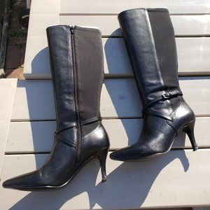 9West leather stiletto boots, full zip, pointy-toe